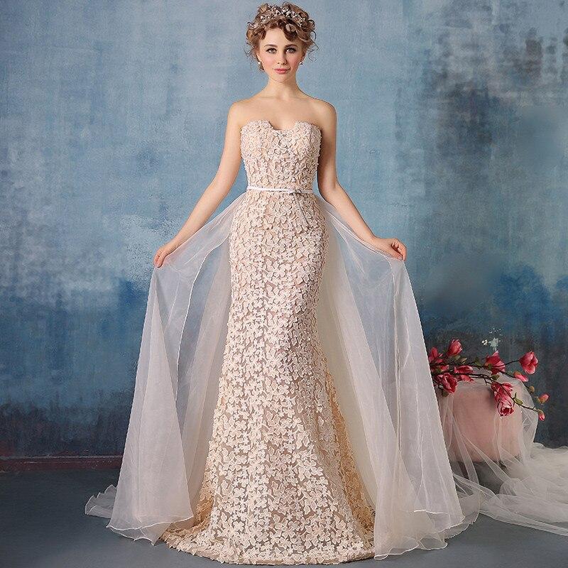 Vestido De Noiva Princesa 2018 Sweetheart Champagne With Lace Flowers Long Train Robe De Mariage Bridal Gown Bridesmaid Dresses