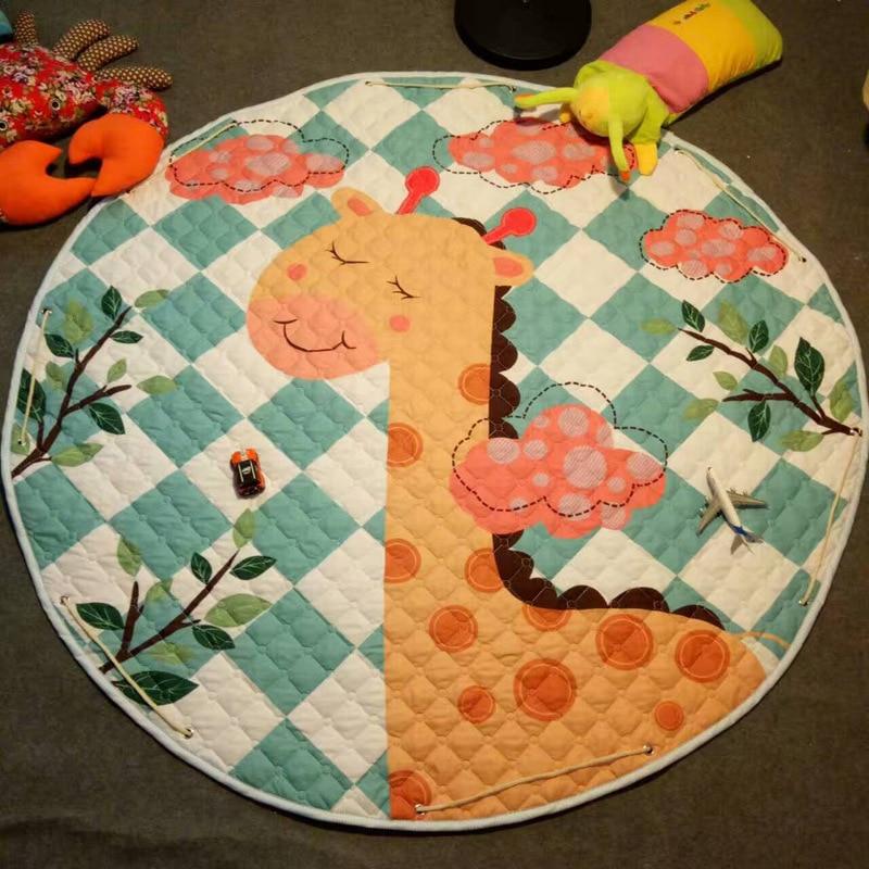 Hc7e6c4f203ff4c27b06638b1a169e70eg Kid Soft Carpet Rugs Cartoon Animals Fox Baby Play Mats Child Crawling Blanket Carpet Toys Storage Bag Kids Room Decoration