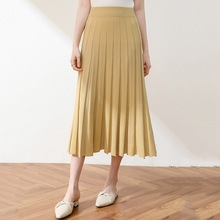 купить 2019 Kintted Skirts Women Autumn Winter High Waist Solid Skirts Maxi Women Long Skirts A-line Pleated Skirts Elegant Jupe Femme по цене 1165.2 рублей