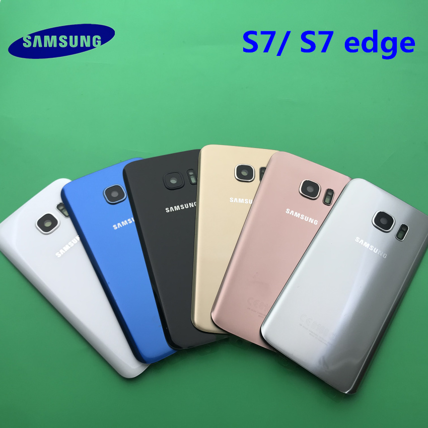 NEW Back Battery Cover Case Samsung Galaxy S7 G930 G930F S7 Edge G935 G935F Rear Door Housing Glass Panel Replacement Part