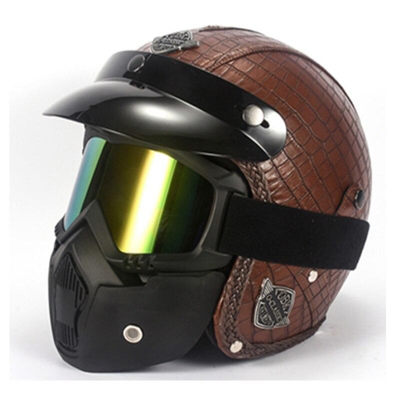 Casques en cuir PU 3/4 moto Chopper casque de vélo visage ouvert vintage casque de moto avec masque de lunettes pour casque harley
