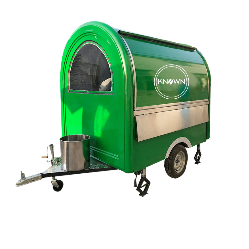 KN-220B Green Color Can Be Customized Food Trailer/Cart/Truck For Snack, Street, Garden To Use With Free Shipping By Sea