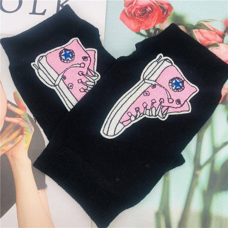 ZAOLIHU Pink Canvas Shoes Design Gloves Women Winter Half Finger Gloves Heart Cute Knitted Gloves Warm Soft Cool Cartoon Gloves