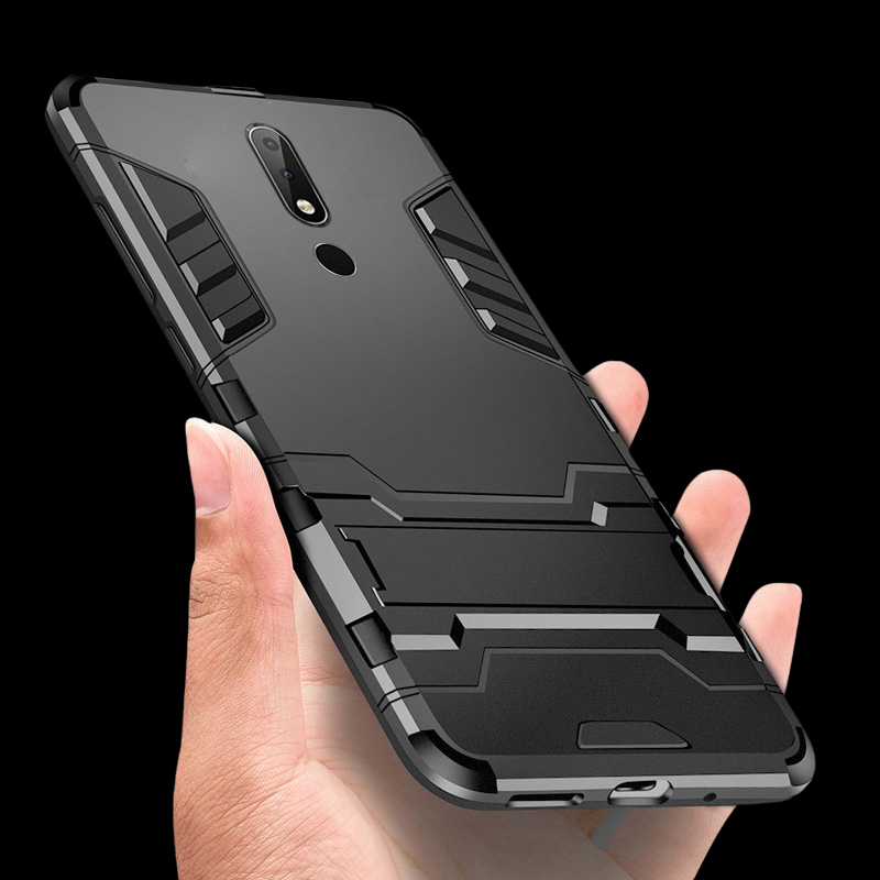 For <font><b>Nokia</b></font> <font><b>5.1</b></font> Plus X5 <font><b>Case</b></font> Silicone Plastic Hybrid Armor Kickstand <font><b>Phone</b></font> <font><b>Case</b></font> For <font><b>Nokia</b></font> <font><b>5.1</b></font> Plus X5 TA-1102 TA-1105 TA-1108 image