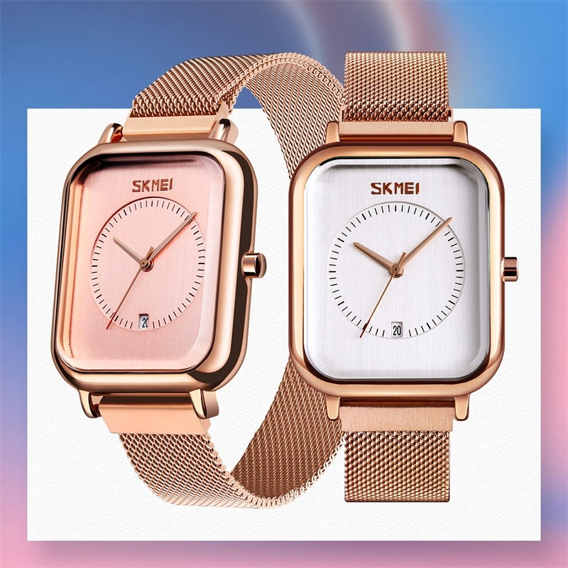 SKMEI Luxury Brand Couple Watches Women Men Quartz Watch Waterproof Mesh Belt Dress Watches For Lovers Relogio Feminino 9207-1