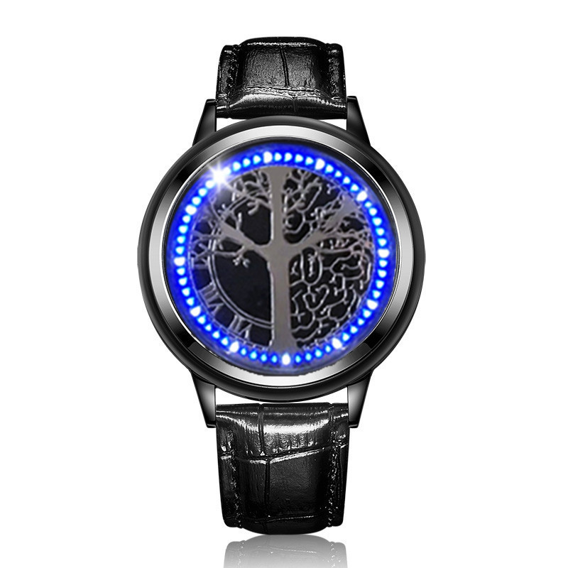 Minimalist Leather Normal Waterproof LED Watch Men And Women Couple Watch Smart Electronics Casual Watches Creative Personality