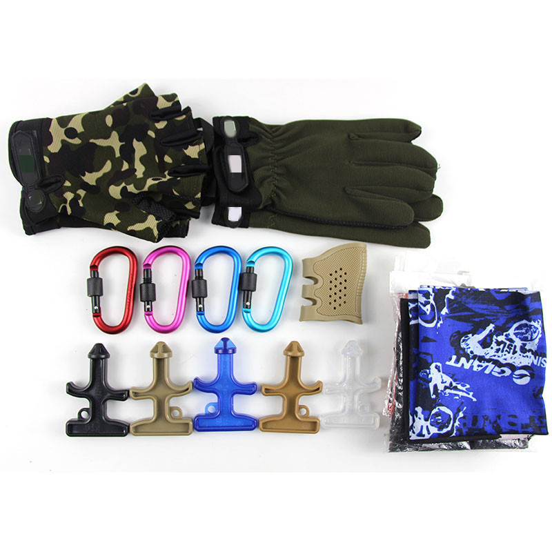 Tactical Gloves  Scarf Skull Mask Keychain Carabiner Defense Stinger Drill Grip Rubber Holster Non-slip Random to Send for Gift