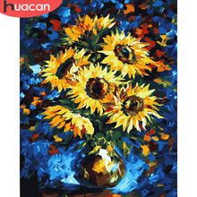 HUACAN Painting By Numbers Sunflower DIY Oil Coloring Pictures Canvas Paint Living Room Art Gift
