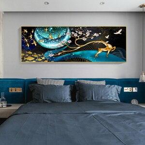 Image 4 - QIANZEHUI, bordado de diamantes, ciervo de diamante redondo en la Luna Diamante de imitación completo pintura de diamantes punto de cruz, costura