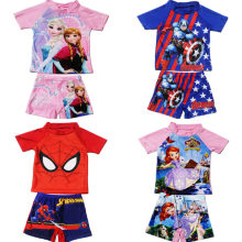 2-11Years Kids Tiener Jongens Badmode 2 Stuks Zwemmen Pak (T-shirt + Kofferbak) beach Badpakken Sunblock Badpak Superman Spiderman(China)