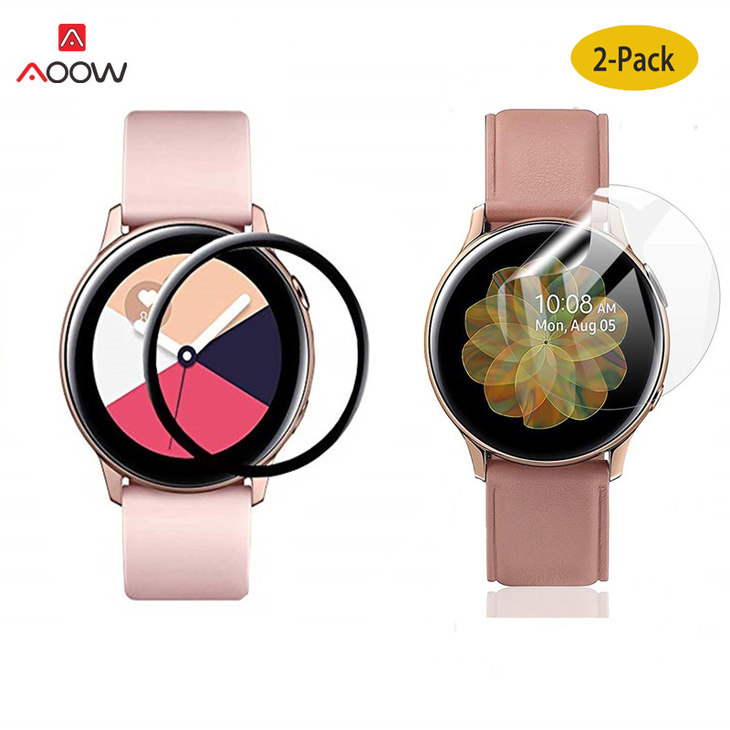 2pcs Protective Film For Samsung Galaxy Watch Active 1 2 40mm 44mm 3D Screen Protector Soft Fibre Glass Full Screen Cover