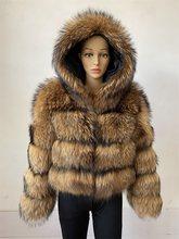 Beiziru real natural guaxinim prata raposa pele casaco com capuz destacável inverno quente mulher altura 50 cm