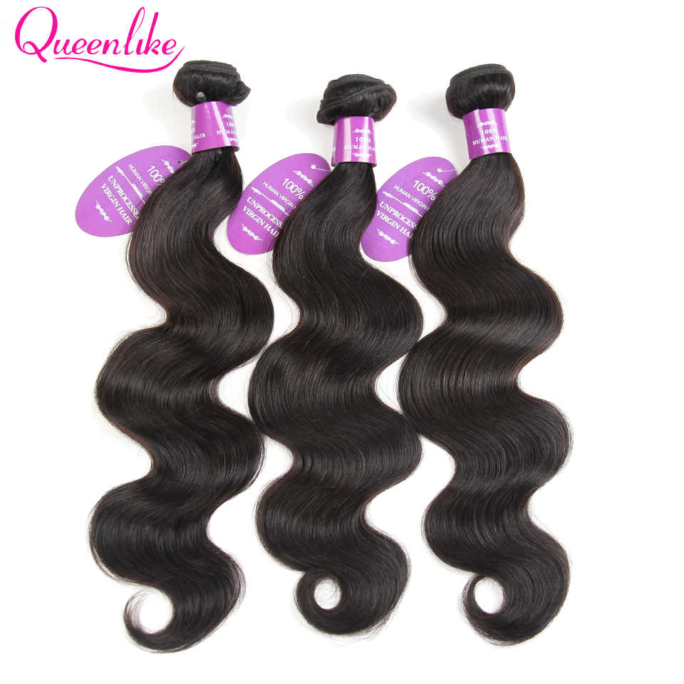 Queenlike Hair Products 3 Bundles Deals Peruvian Hair Bundles 100% Human Hair Weave Weft Non Remy Body Wave Bundles