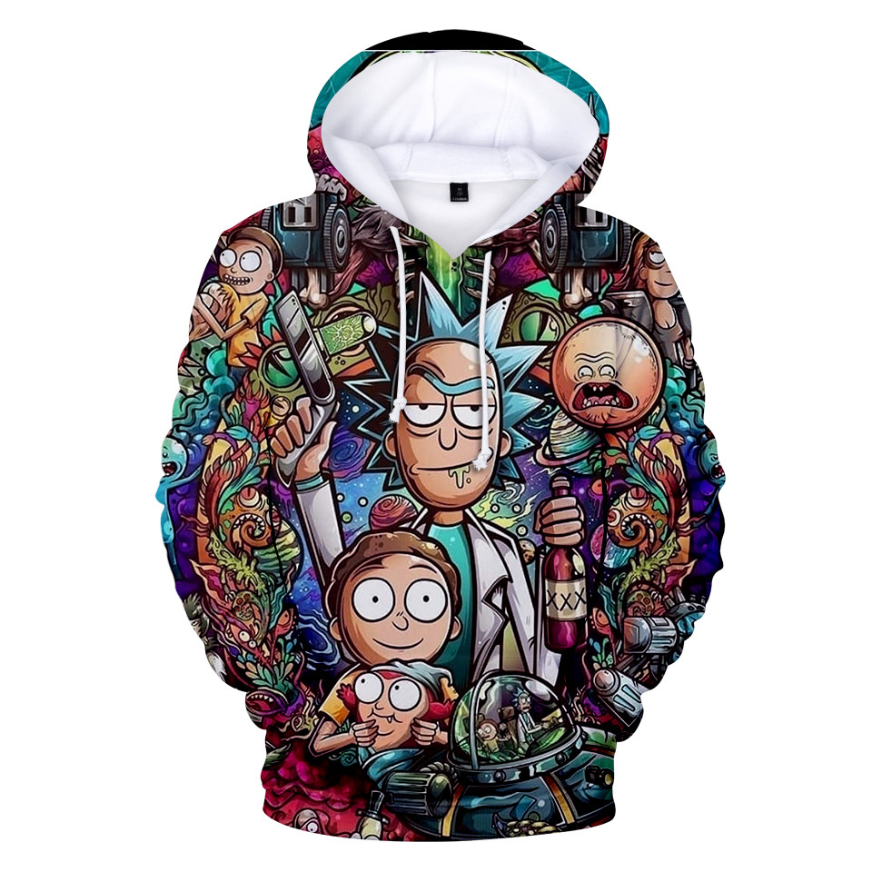 US $10.72 33% OFF|3 do 13 lat dzieci bluzy rick i morty 3D drukowane bluza z kapturem bluza chłopcy dziewczęta z długim rękawem kurtka z motywem