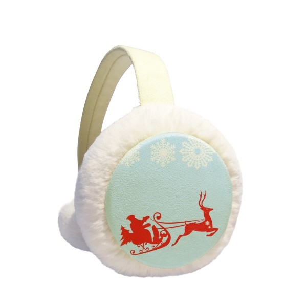 Christmas Elk Sled Snowflake Pattern Winter Earmuffs Ear Warmers Faux Fur Foldable Plush Outdoor Gift