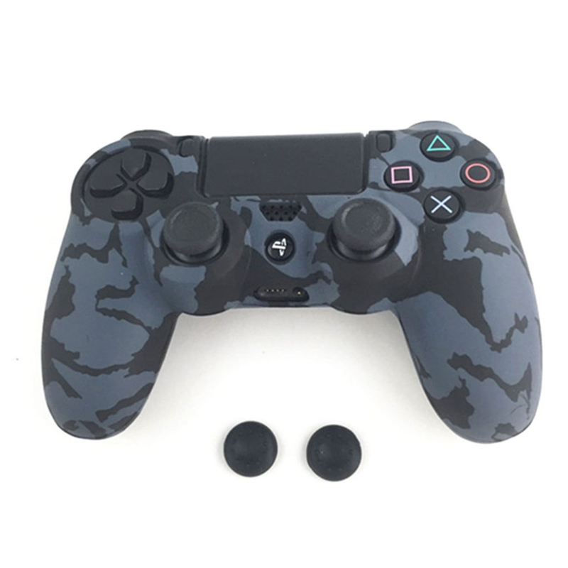 Купить с кэшбэком Guards Soft sleeve Skin Grip  Camouflage Camo Silicone  Cover Case Protector For Playstation 4 PS4  PS4 Pro Controller + 2 Caps