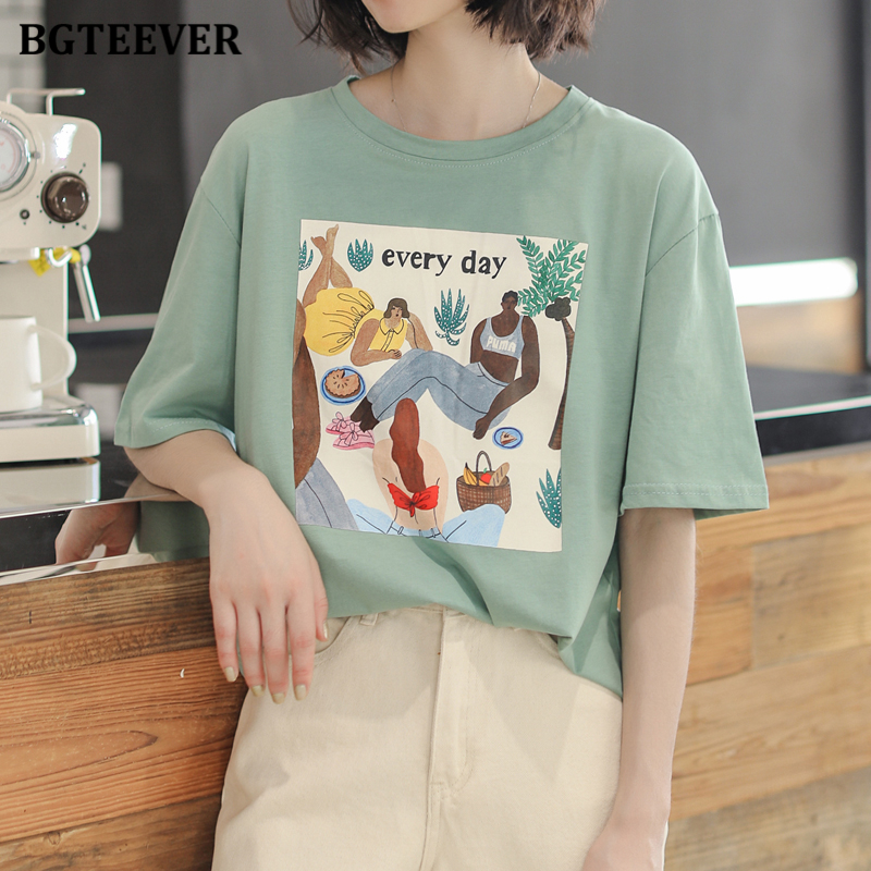 BGTEEVER Simple Loose O-neck T-shirts For Women Summer Short Sleeve White Tees Female Tops Casual Print T-shirts 2020