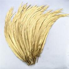 100 шт/лот окрашенные покрашенные золотые серебряные перья фазана