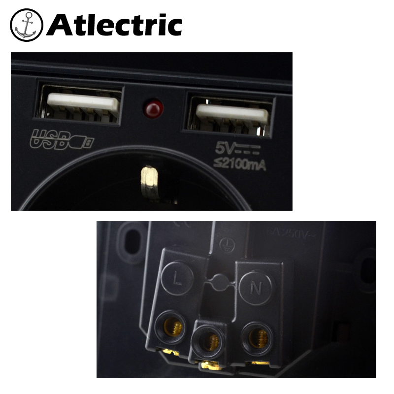Atlectric 2A Dual USB Port Socket Wall Charger USB Socket 16A EU Russia France Outlet Power Socket Wall Adapter Charging in Electrical Sockets from Home Improvement