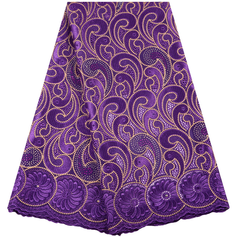 Best Selling 2019 New Purple African Lace Fabric Swiss Voile With Stones Swiss Cotton Lace High Quality For Wedding