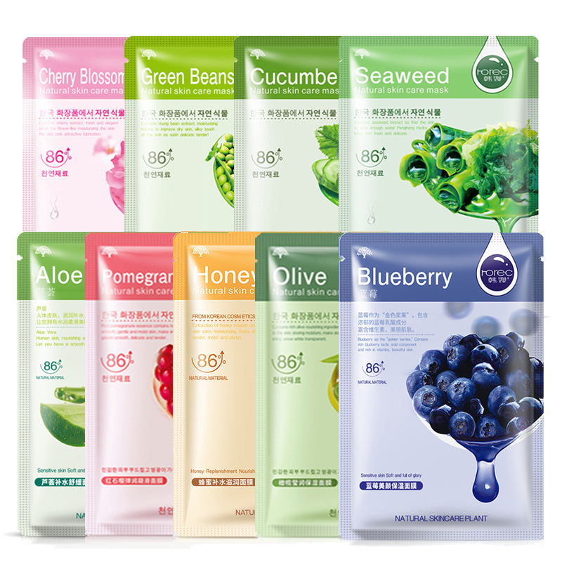 Skin Care Natural Fruit Plant Facial Mask Moisturizing Oil-Control Blueberry Cucumber Pomegranate Fruit Aloe Sheet Face Mask-2