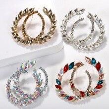 Fashion Crystal Glass Flower Hoop Earrings for Women 2019 ZA New Luxury Dangle Jewelry Accessories Wedding Wholesale