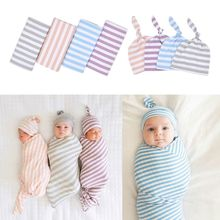 New Cotton Baby Blankets Printed Newborn Infant Boy Girl Sleeping Swaddle Muslin Wrap +Hat 2PCS