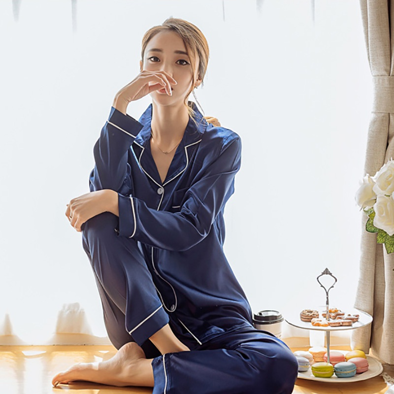 Silk Pajama Sets Satin Pyjama Sleepwear Women Long Sleeve Big Size Fashion Pajamas For Girl Nightwear Suit Home Korean Style