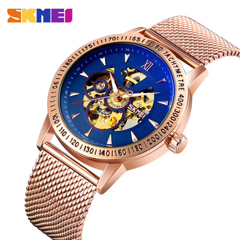 Brand SKMEI Automatic Watch For Men Luxury Stainless Steel Business Men's Watches Waterproof Clock Bracelet Skeleton Movement