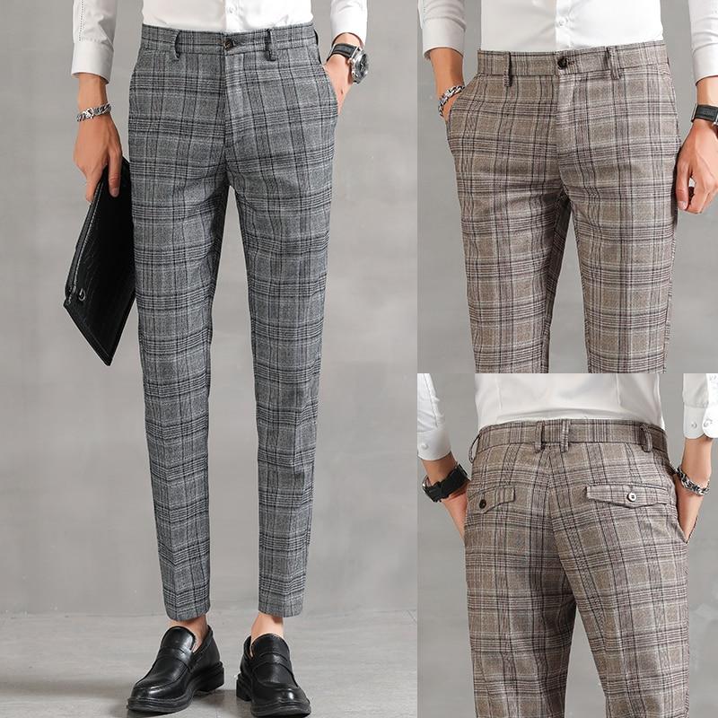 YASUGUOJI Men Dress Pants 2020 Plaid Business Casual Slim Fit Ankle Length Pantalon Classic Vintage Check Suit Trousers Wedding