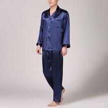 2pcs Men sleep nightwear Satin Silk Sleepwear Loung