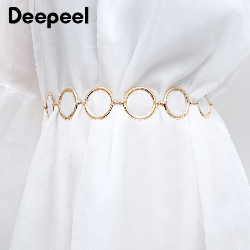 Deepeel 1pc 50-65cm Ladies Personality Geometric Ring Single Layer Body Chain Simple Punk Wild Metal Cummerbunds  YK660