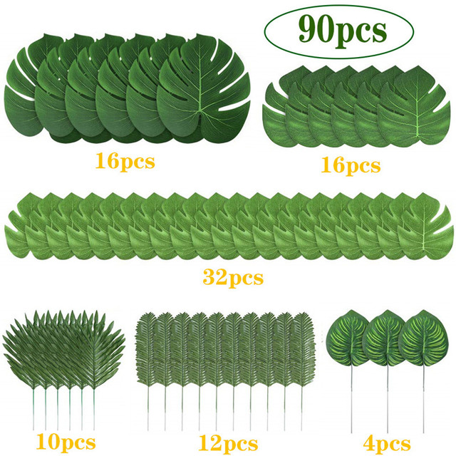 tropical decorations on bed tropical home decor ideas.htm 90pcs set artificial tropical palm leaves for hawaiian luau theme  artificial tropical palm leaves