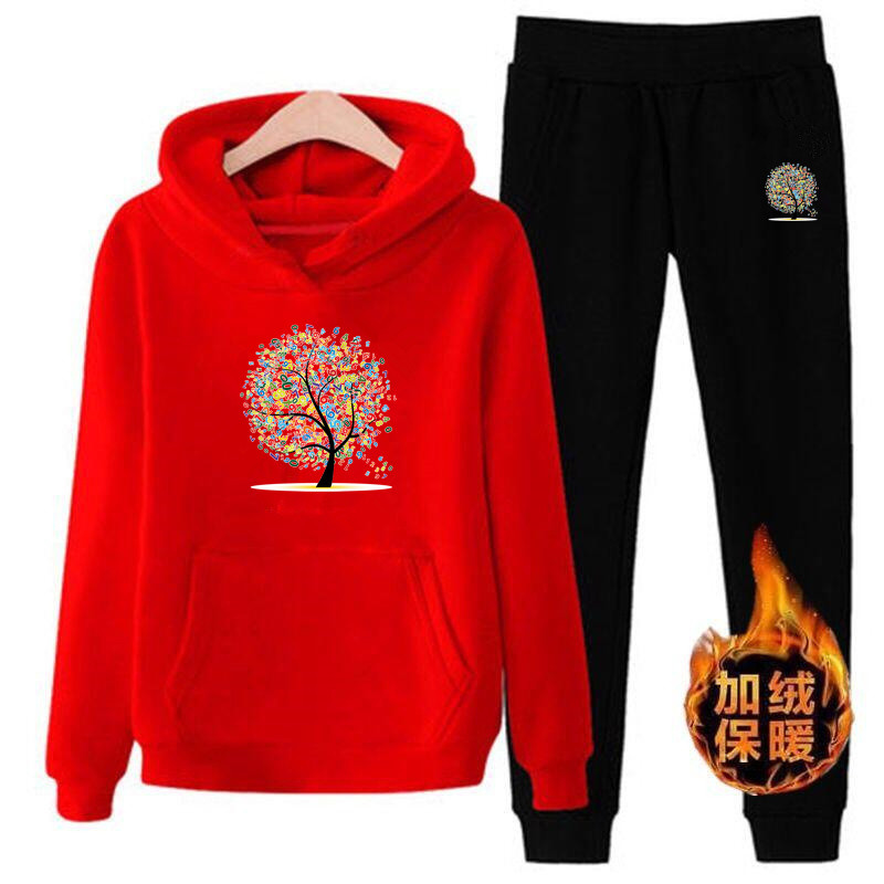 P68 3xl Tree Women Hoodies Pant Clothing Set Casual 2 Piece Set Warm Clothes Solid Tracksuit Women Set Top Pants Ladies Suit