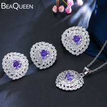 BeaQueen Lovely Heart Cut Purple Crystal Cubic Zirconia Women 3pcs Ring Earring Necklace Jewelry Sets for Party Gift JS114 pretty crystal heart cut ring multicolor