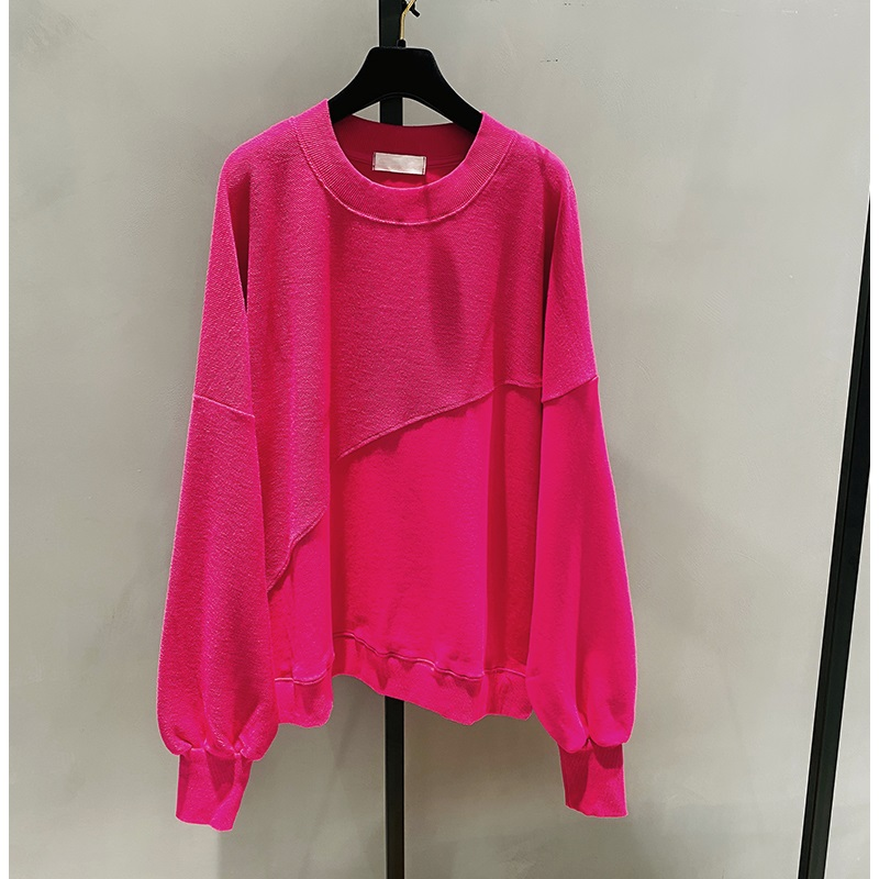 2021 New Spring Autumn Loose Korean Style Loose Women Top Cotton Ins Hoodie Round Neck Simple Pullover Sweatshirt 9