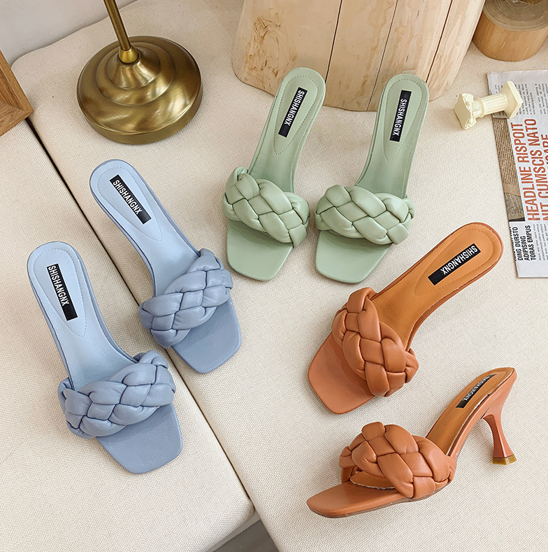 2020 New Design Weave Women Slipper Ladies Thin High Heel Sandal Open Toe Slip On Summer Outdoor Slides Flip Flop Shoe