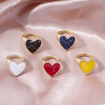 Fashion Drop Nectarine Heart Ring for Women Color Heart-shaped Romantic Ring Dating Birthday Lover Gifts Wholesale Jewelry 1