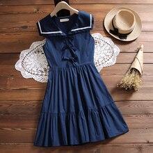 Japanese Mori Girl Students Kawaii Summer Dress Women Sailor Collar Sleeveless Cotton Dresses White,Navy Blue S-XXL
