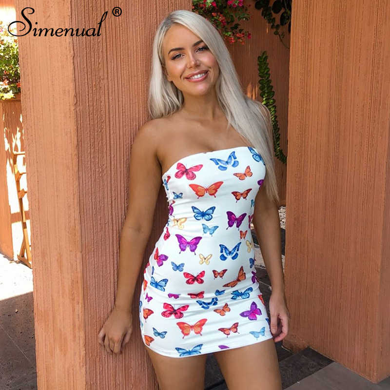 Simenual 나비 인쇄 Strapless 여성 파티 드레스 섹시한 핫 Clubwear Bodycon 스키니 랩 가슴 미니 드레스 2020 패션 슬림