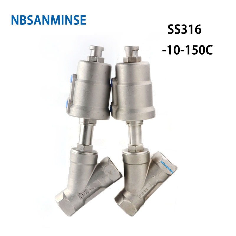 NBSANMINSE JDF 100S0NC6 G 1-1/4 1-1/2 2 2-1/2 3 Angle Seat Valve Air Pneumatic Stainless Steel 316 Normally Closed
