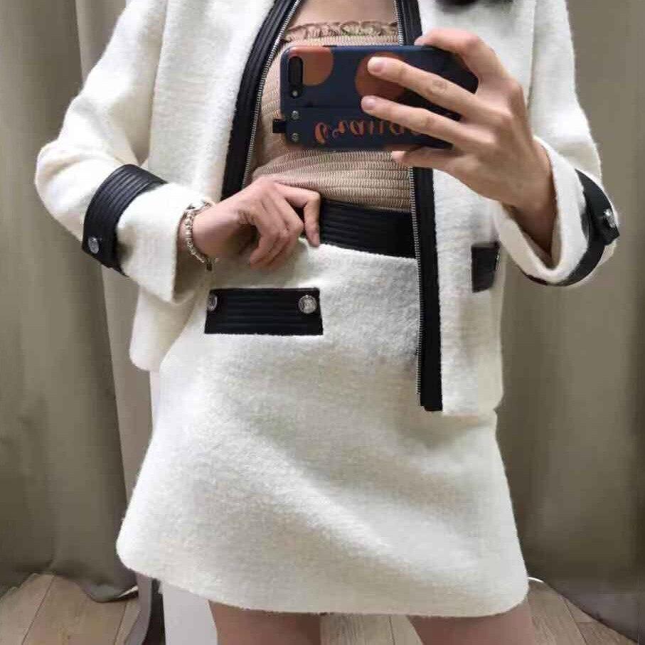Women Skirt 2019 Autumn Winter New Contrast High Waist Top Skirt