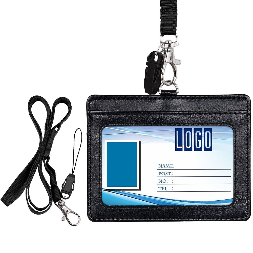Factory Customizable Students Company Certificate Holder Pu Lanyard Leaflet Work Permit Leather Card Holder PVC Transparent Card