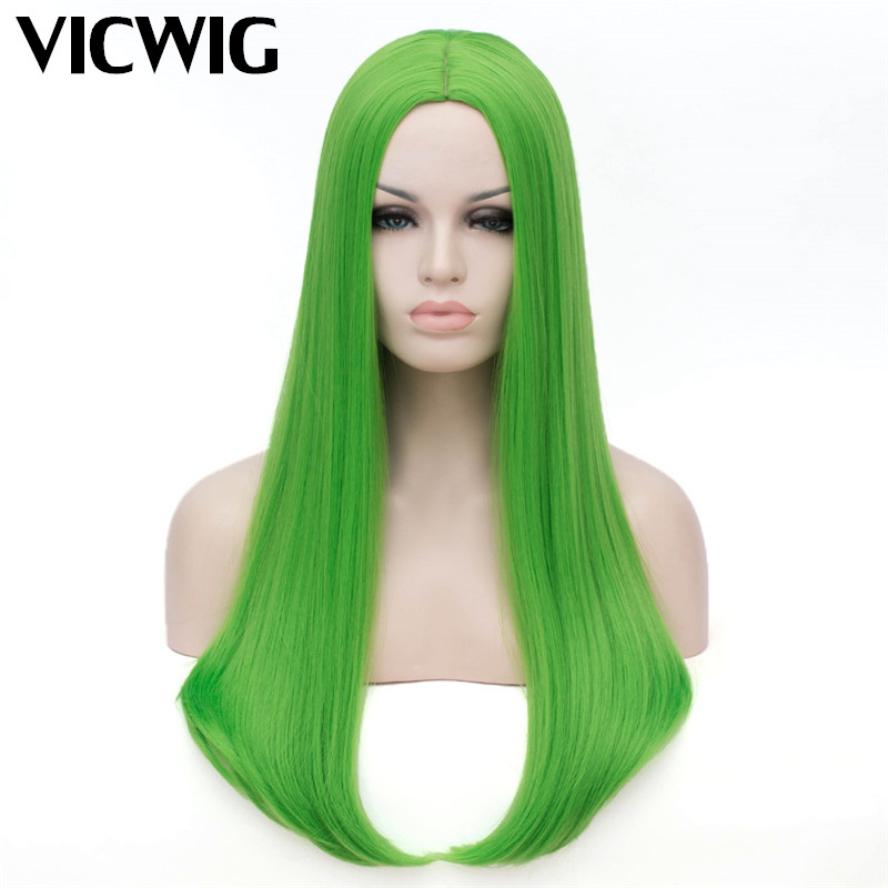 Long Green Wig Cosplay Straight Synthetic Wigs For White Black Women Heat Resistant Rose Net With Middle Part Line