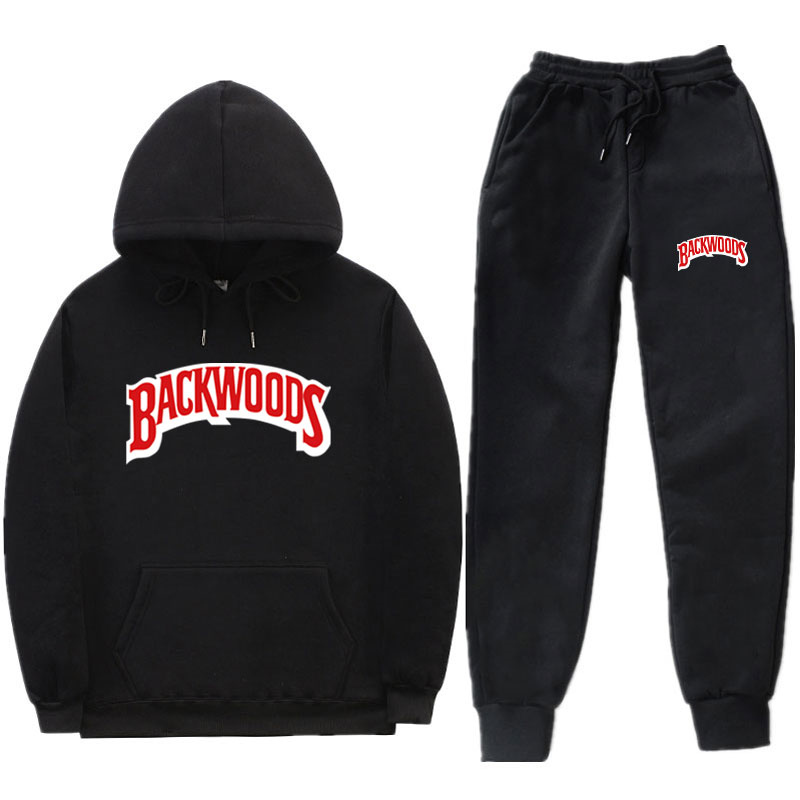 Fashion Streetwear BACKWOODS Hoodie Set Tracksuit Men Thermal Sportswear Sets Hoodies And Pants Suit Casual Sweatshirt Suit