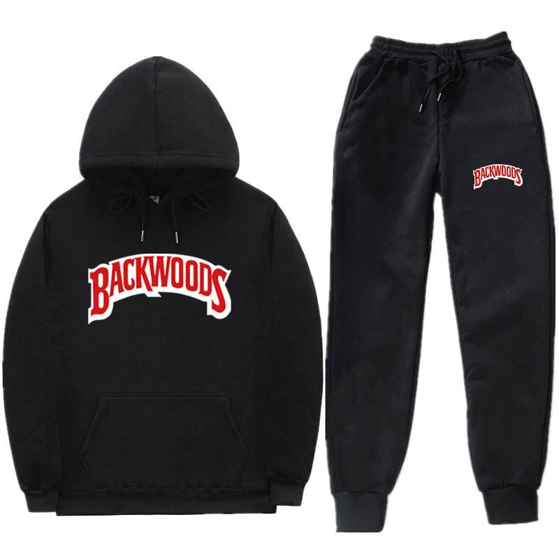 Fashion Streetwear BACKWOODS Hoodie Set Tracksuit Men Thermal Sportswear Sets Hoodies And Pants Suit Casual Sweatshirt Suit