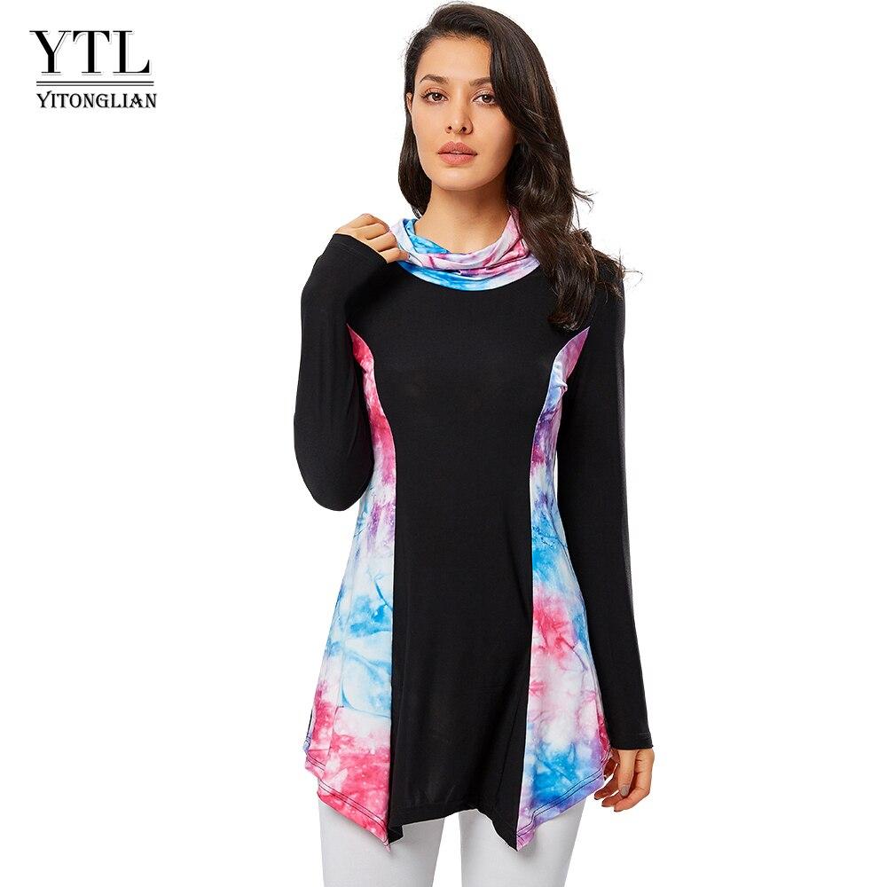 YTL 여자 톱 높은 목 패치 워크 긴 소매 2020 패션 가을 시즌 겨울 인쇄 느슨한 t-셔츠 여성 상위 Blusa H331
