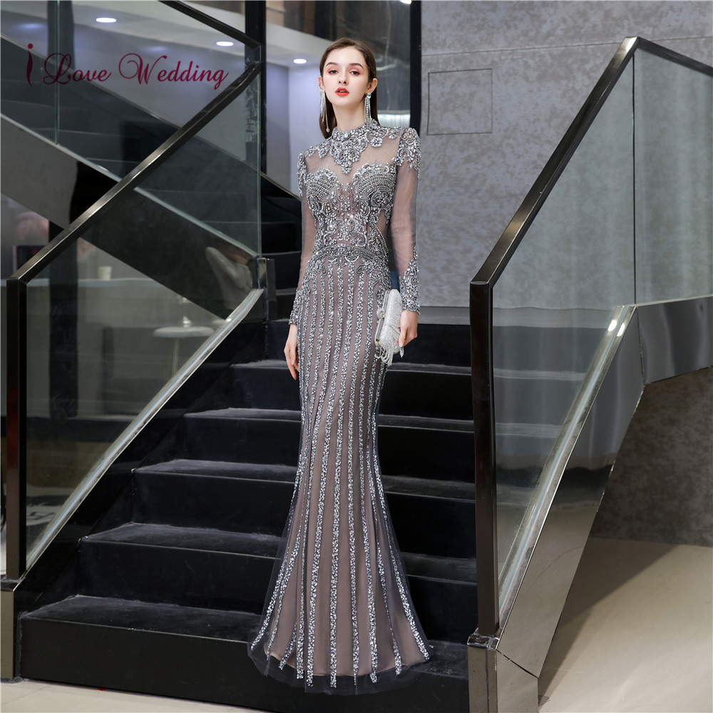 Evening Dresses Long 2020 Heavy Beaded Long Sleeves Floor Length Mermaid Formal Gown Sparkly Jewel Party Formal Dress