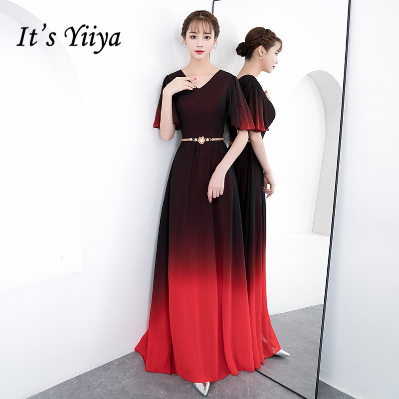 It's Yiiya V-neck Evening Dresses Black Red Gradient A Line Formal Party Dress Half Sleeve Women Elegant Gown Vestido K215