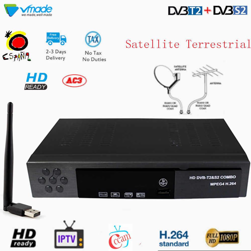 DVB-T2 + S2 コンボ H.264 サポート 3D インタフェース cccam iptv ドルビー地上衛星放送受信機 hd デジタル tv チューナー 1080 1080p セットトップボックス
